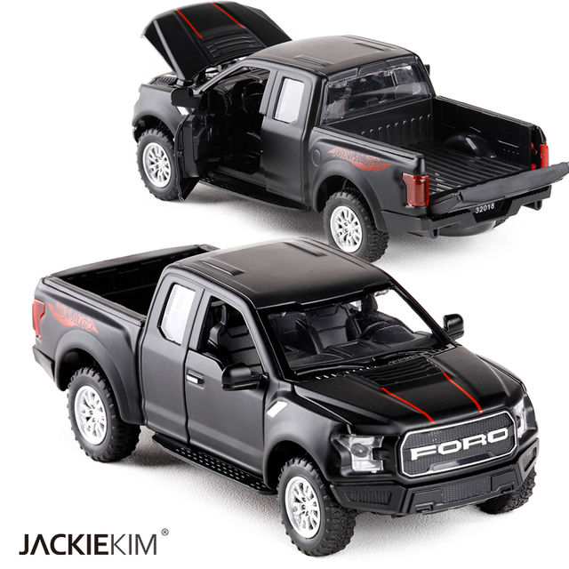 1:32 F150 Truk Paduan Model Mobil Logam Diecasts Kendaraan Mainan Menarik Kembali Berkedip Suara untuk Mainan Anak Gratis pengiriman
