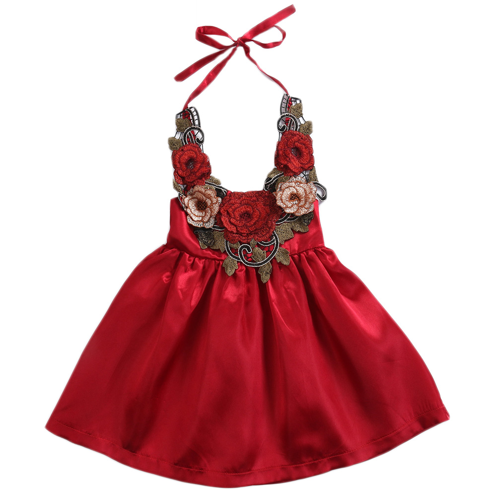Cute Flowers Baby Girls Dress Party Lace Up Summer Outfits Clothes Fashion Cool Gown Princess Toddler Girl Dress