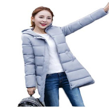 2016 Winter Medium-Long Cotton Coat Women Slim Show Thin Wadded Jacket Thick Warm Hooded Outerwear Tops LJ4329