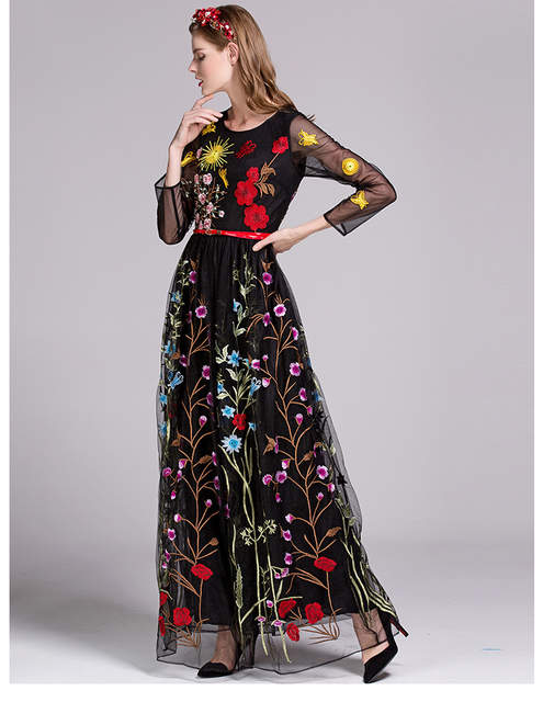 6d02181b3fc5d US $64.69 30% OFF|QYFCIOUFU High Quality Autumn Maxi Dress 2017 Runway  Womens Fashion Long Sleeve Designers Tulle Floral Embroidered Black  Dress-in ...