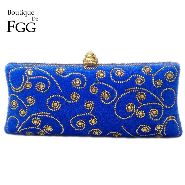 Royal Blue Golden Flower Crystal Women Evening Metal Clutches Purse Ladies Wedding Party Bridal Handbags Mni Box Shoulder Bags