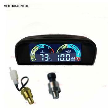 VEHTRKACNTOL 2 funkcje 12 v 24 v ciężarówka samochód miernik ciśnienia oleju + miernik temperatury wody miernik zestaw tanie i dobre opinie 0 32kg CW3882 As picture Latest Pressure Temperature gauge