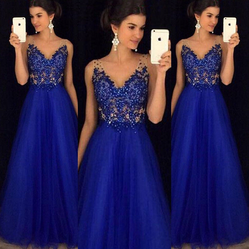 Women Ladies Long Lace Bridesmaid Evening Party Ball Gown Dress Cocktail Prom