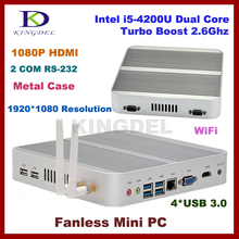 8GB RAM+128G SSD+1T HDD fanless nettop core i5 4200u Small home computer,Intel HD 4400 Graphics,2*COM RS232,4*USB 3.0,HDMI