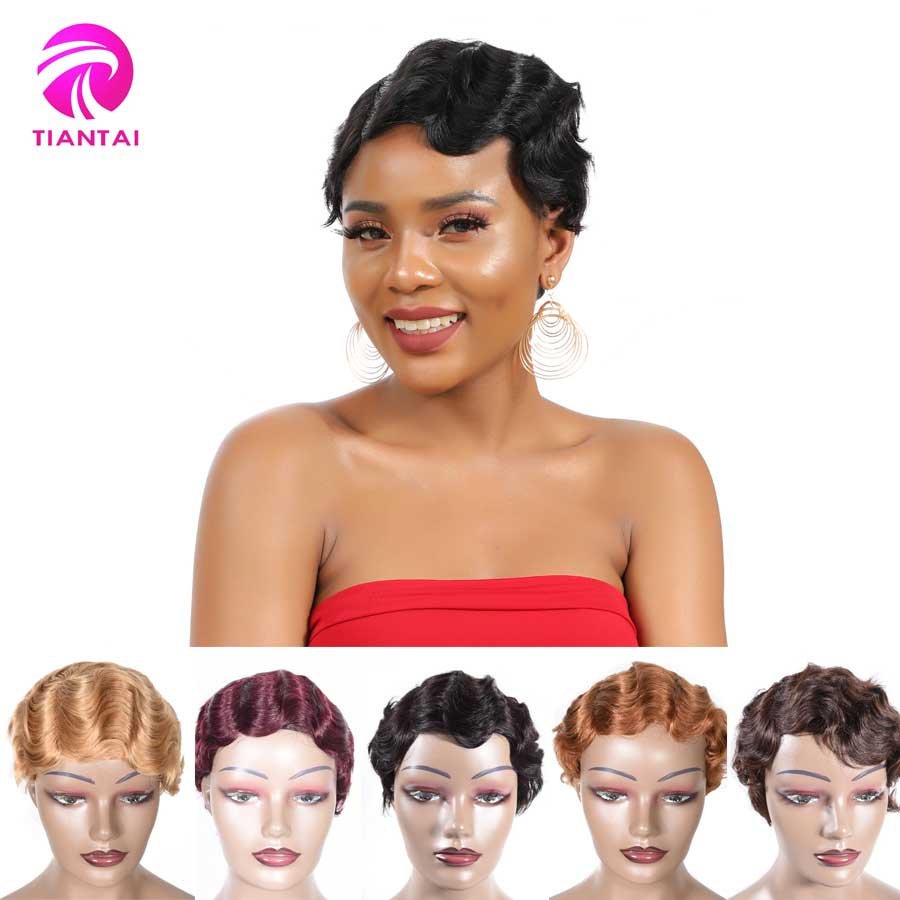 Short Finger Wave Wigs Short Bob Wigs For Woman Short Pixie Cut Wig Brazilian Remy Short Human Hair Wigs Mix Color 1b 2 Tiantai