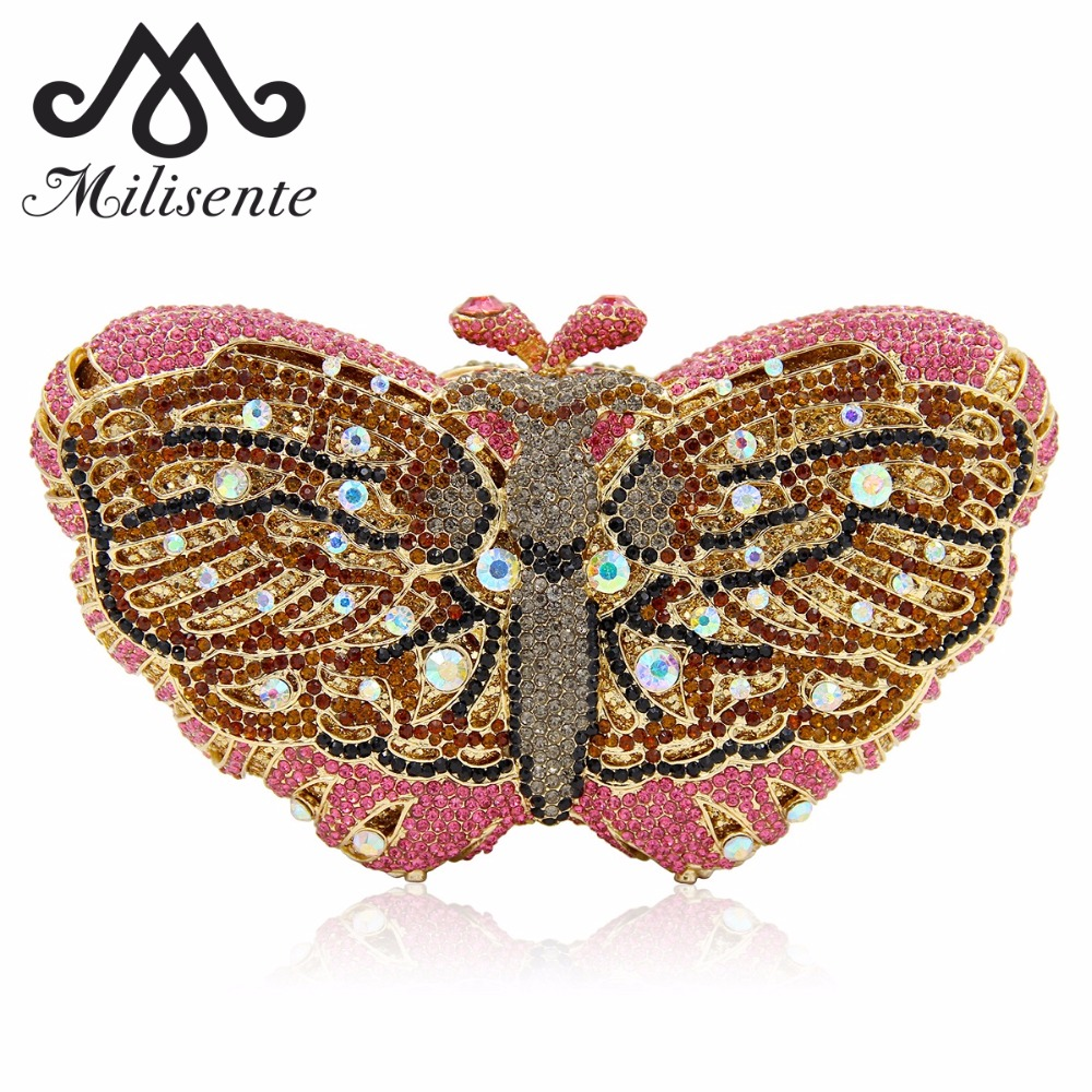 Milisente Women Clutches Butterfly Shape Luxury Crystal Evening Bag with Chain Sisters Party Purse Wedding Clutch Gold Silver milisente women luxury rhinestone clutch evening handbag ladies crystal wedding purses dinner party bag gold