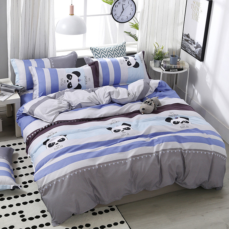 4pcs/set High Quality Comfortable Panda Cartoon Printing Family Bedding Set Bed Linings Duvet Cover Bed Sheet Pillowcases(China)