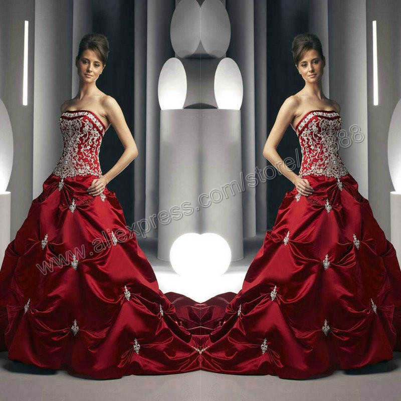 Hot design best satin colored royal blue or red wedding for Red and black wedding dresses for sale