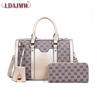 LDAJMW Fashion Women Shoulder Bags 2pcs/set Luxury Female Handbags High Quality PU Leather Composite Bag Ladies Zipper Wallet