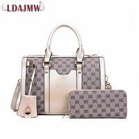 LDAJMW Fashion Women Shoulder Bags 2pcs/set Luxury Female Handbags High Quality PU Leather Composite Bag Ladies Zipper Wallet