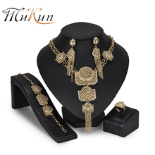 MUKUN Bridal jewelry sets design Fashion African Beads Jewelry Sets Brand nigerian wedding for women Dubai gold