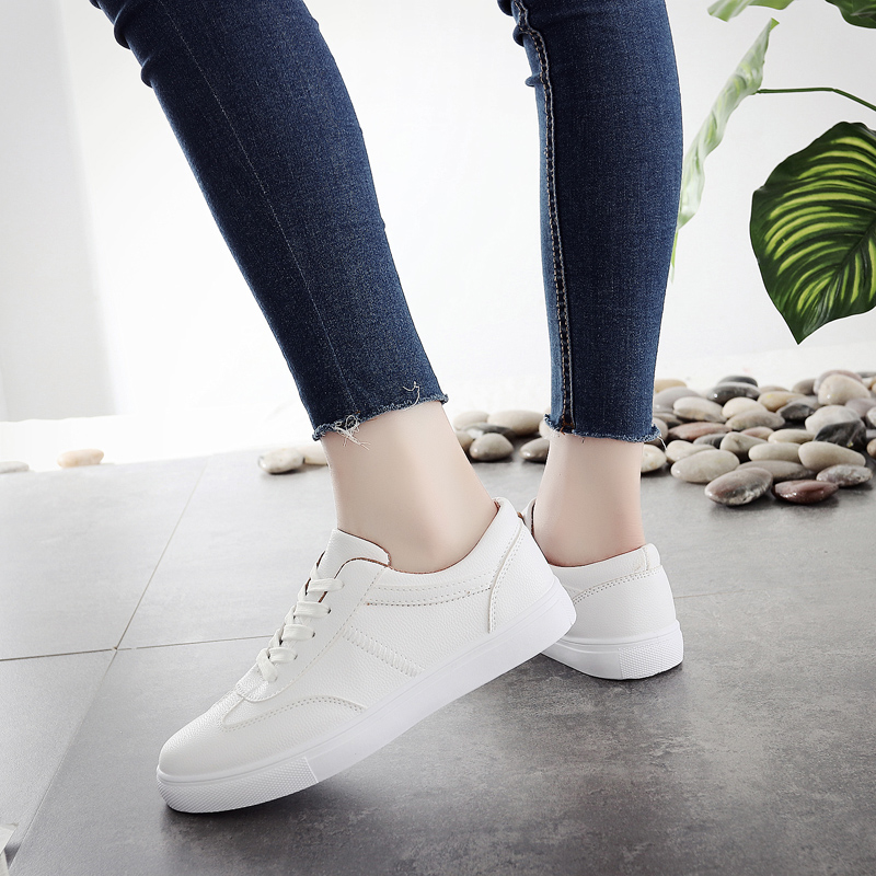 Keloch Korean Style Women Casual Shoes Student Lace-Up Comfortable Flats Women Sneakers Pink/White/Black Fashion Shoes Female instantarts casual women s flats shoes emoji face puzzle pattern ladies lace up sneakers female lightweight mess fashion flats