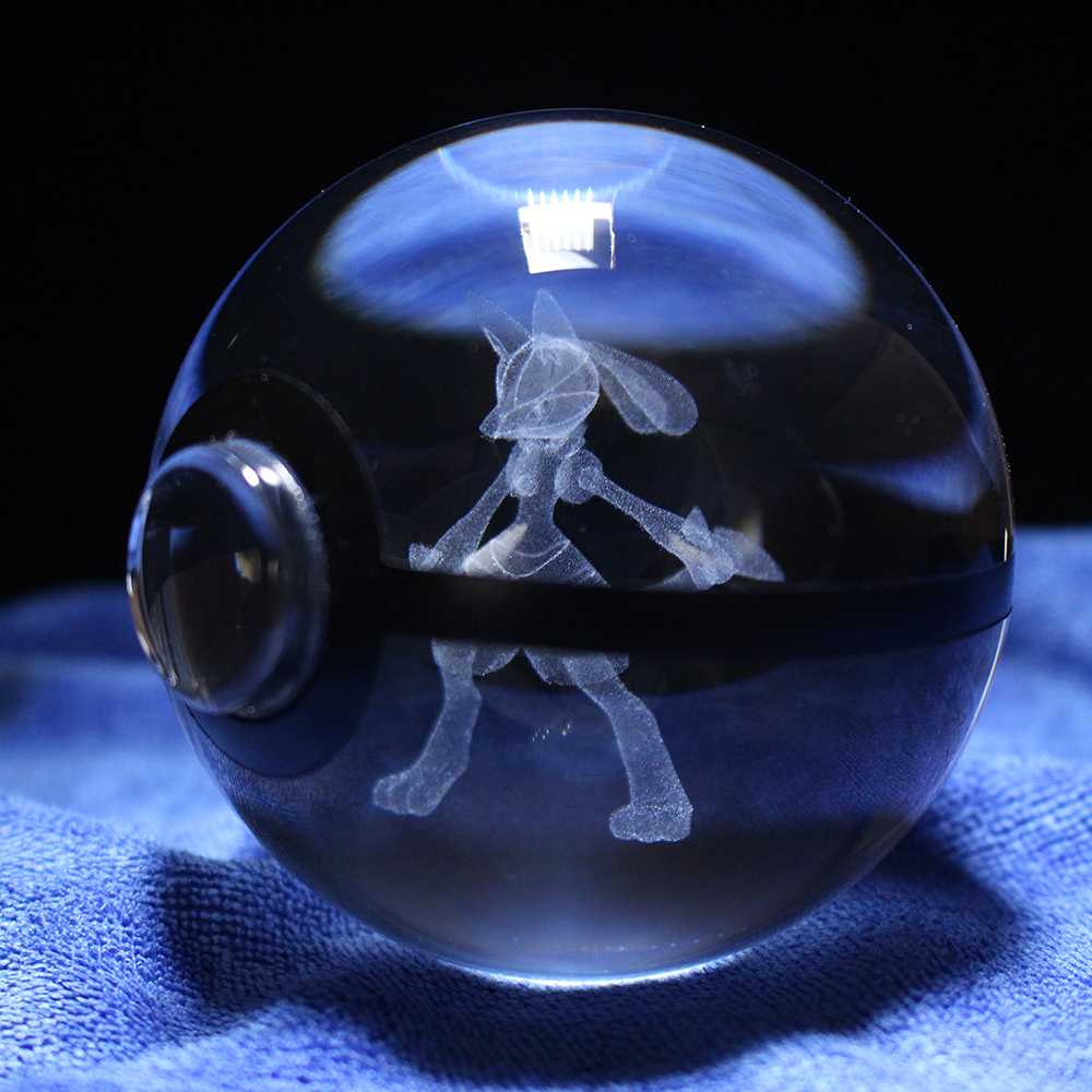 Pokemon Anime Glass Pokemon Ball 3D Engraving Lucario Ball Crystal Crafts Gifts