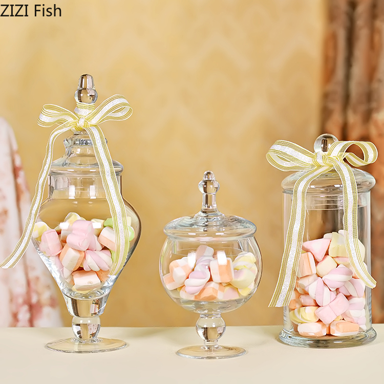Candy-Jar Display-Stand Storage-Tank Glass-Cover Dessert Wedding Transparent European-Style