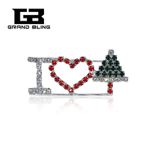 "Christmas Theme Rhinestone Brooch ""I Love Christmas Day"" Pins Bling Jewelry&Gift"