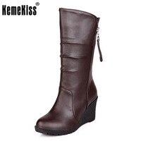KemeKiss Size 28 50 Women Wedge Half Short Boots Winter Snow High Wedges Boot Fashion Footwears