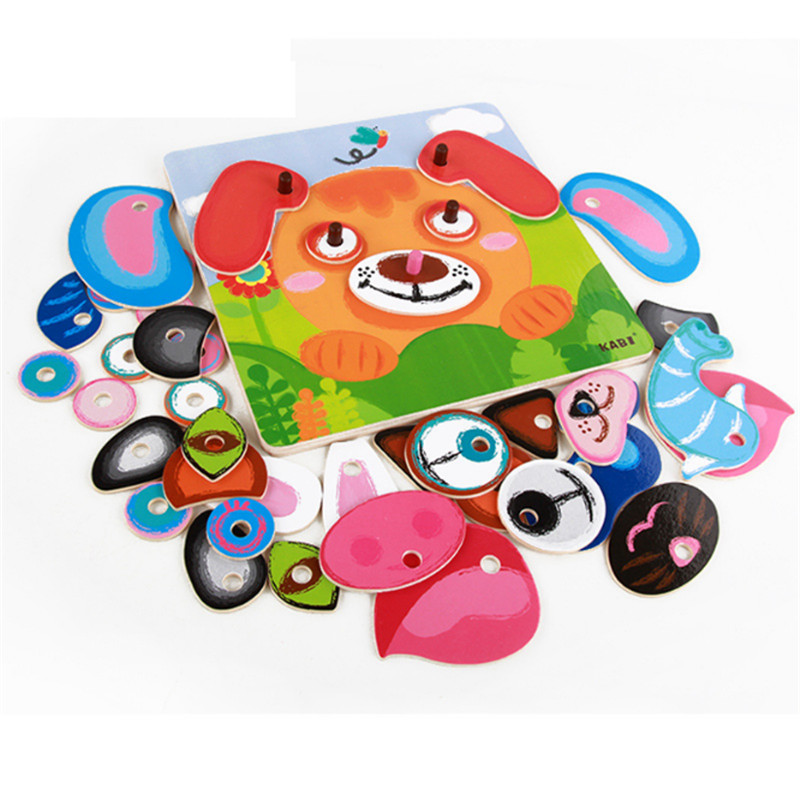 Multi-Functional Intelligence Puzzle Animals Face Change Game Wooden Puzzle Educational For Child Early Educational Toy For Kids