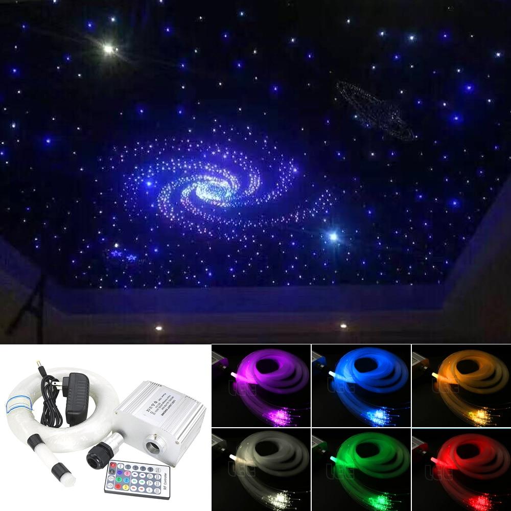 ტიპური ჩიპი 10W RGBW მოციმციმე LED ბოჭკოვანი ბოჭკოვანი ვარსკვლავის ჭერის განათება შერეული 0.75 მმ 100 ცალი * 2 მ + 1.5 მმ 20 ცალი * 2 მ ოპტიკური ბოჭკოვანი + კრისტალი