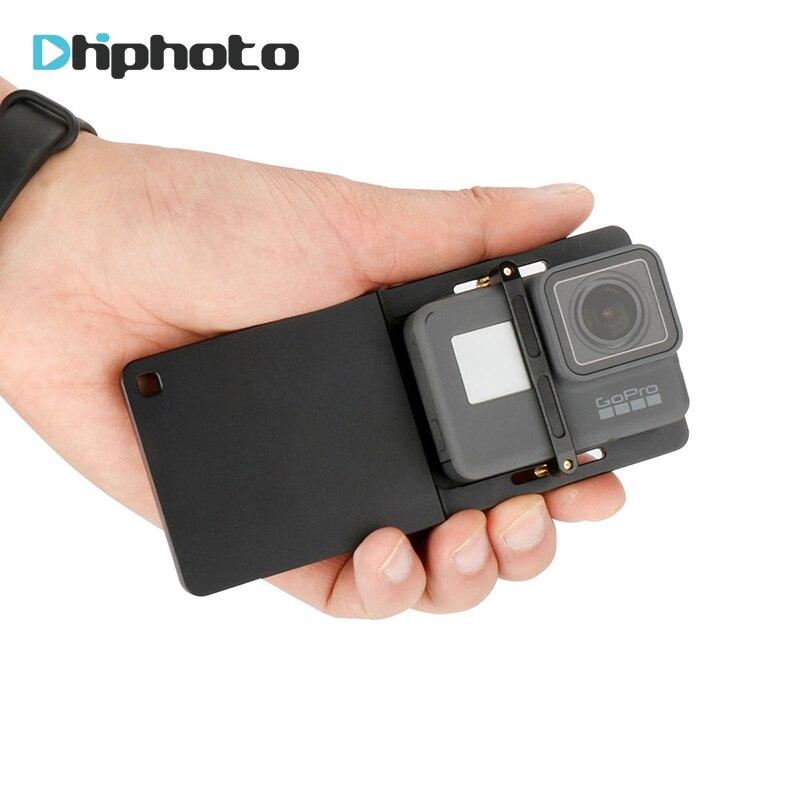 Adaptador de placa de montaje de interruptor de aluminio para Cámara de Acción GoPro Hero 6/5/4 Xiaoyi Sjcam para zhiyun Smooth Q/Feiyu Vimble 2/DJI osmo