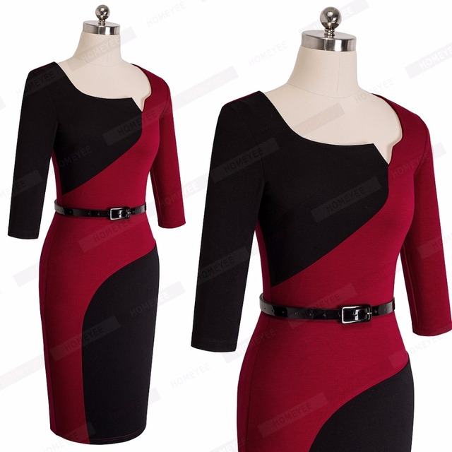 Ladies Smart Casual Dress Elegant Business Office Belted Contrasting Fitted Bodycon Pencil