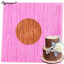 Byjunyeor M478 drzewo kora koronki narzędzia kuchenne dekoracje ślubne silikonowe formy do pieczenia do wykrawania kształtów z masy cukrowej narzędzia do masy cukrowej 10*10*0 4CM tanie tanio Lfgb Ciasto narzędzia Zaopatrzony Ekologiczne Z gumy silikonowej Bark Mold