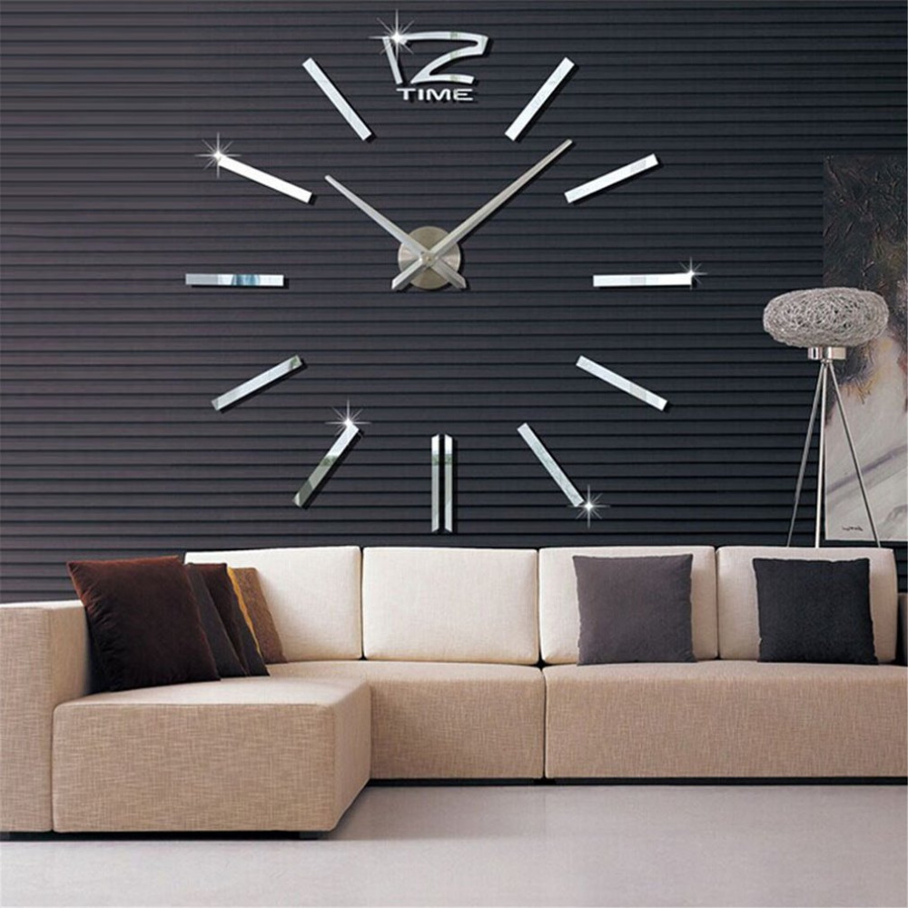 new large size wall clock 3d diy sticker home decoration vintage oversize artistic needle circular clock