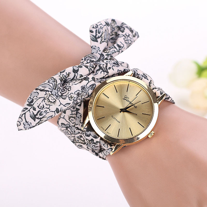 Luxury Women Girl Floral Cloth Quartz Wristwatch Bracelet New Casual Female Vintage Watch Ladies Dress Watches Clock Relogio