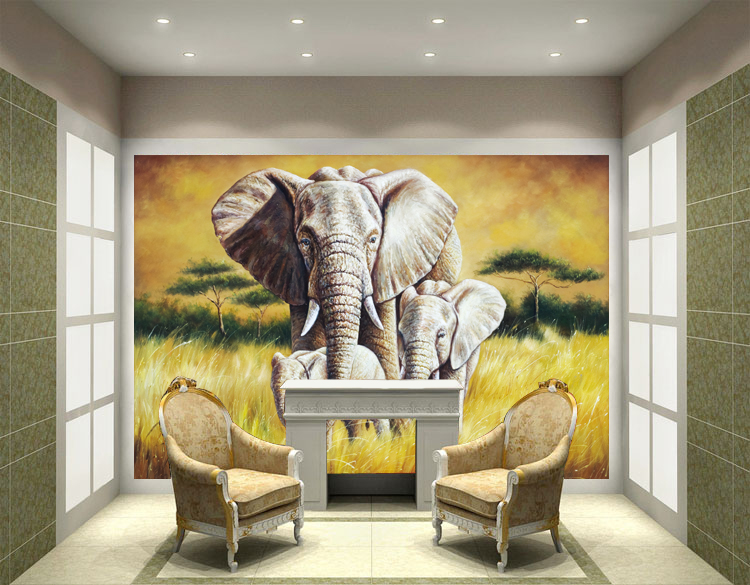 3D Wall Painting 3d animal mural oil painting wall paper painting non woven ktv