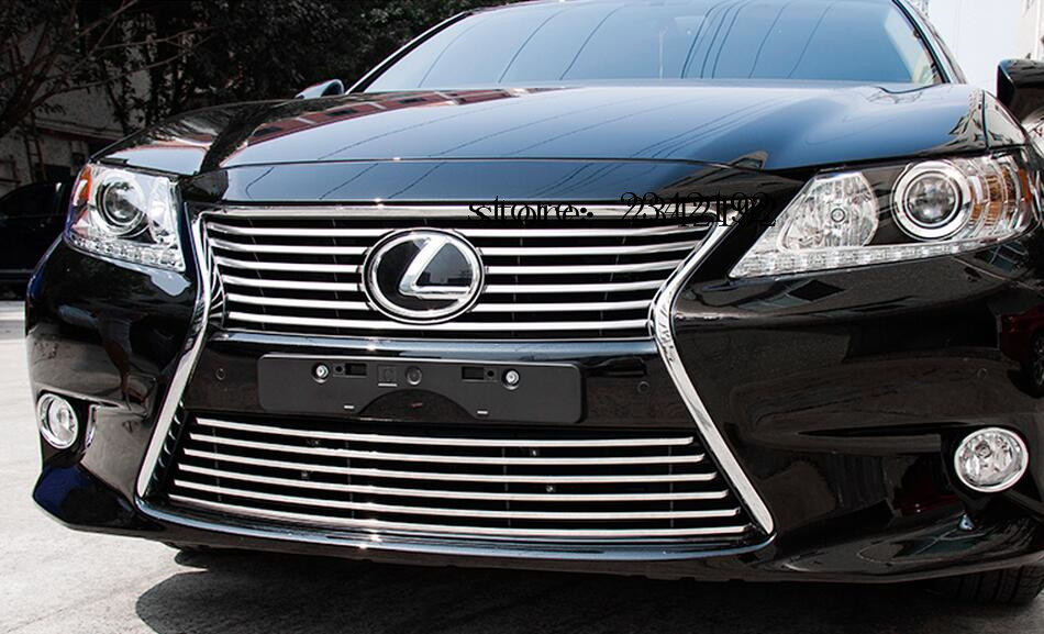 High quality 306 stainless steel front grille bumper cover trim for LEXUS ES250 ES300 ES350 2012-2014 high quality stainless steel wire drawing water glass holder panel 1pcs for lexus 2016 rx200 rx450h accessories