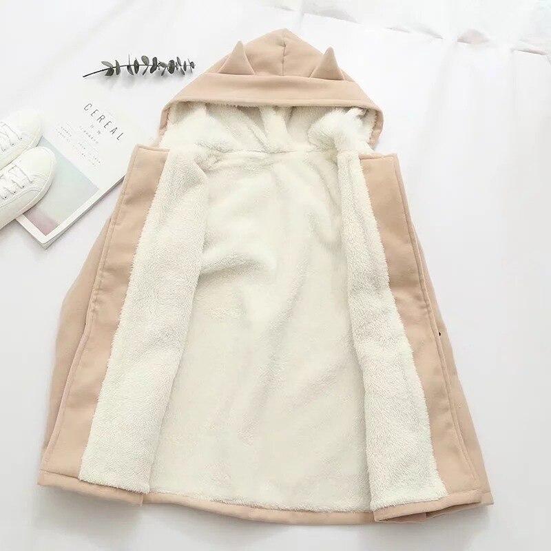 Image 5 - Lovely cat pockets warm hooded winter coat women jacket horn  button plus velvet 3colors M,Lwinter coat women plushood wintercoat  women