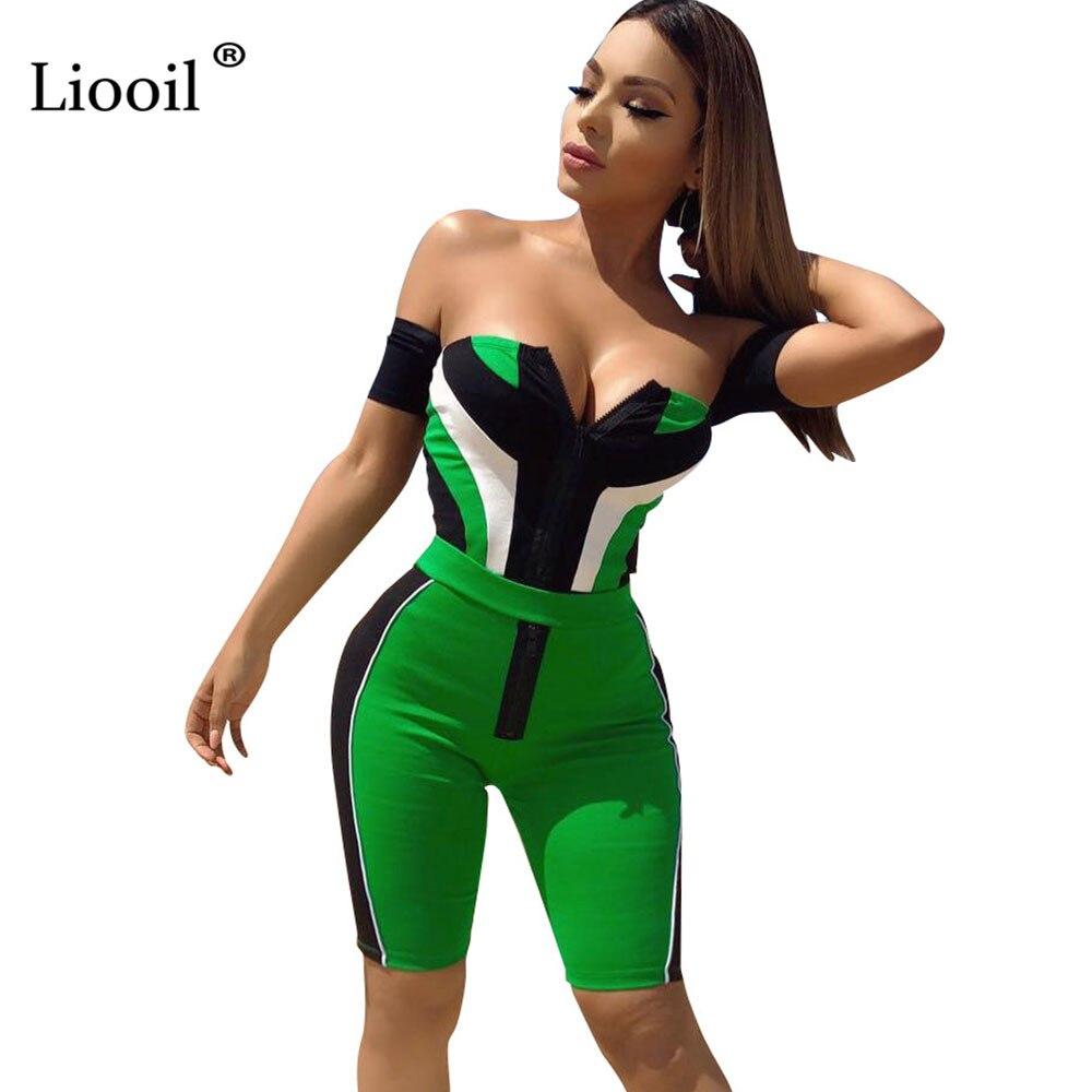 Liooil Strapless Off Shoulder Plus Size Jumpsuits Sexy Short Sleeve Backless Color Block Print Women Jumpsuit Calf-Length Pants