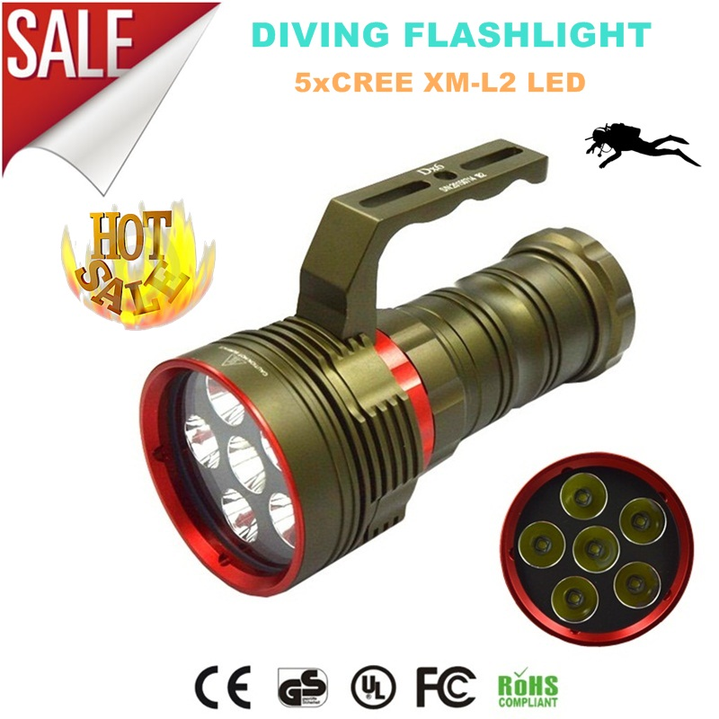 SKYRAY DX6 9000Lumens CREE XM-L2 LED Diving Flashlight Underwater 200M Torch Light practical xm l 3x t6 led 4000 lumens skyray 3t6 flashlight torch