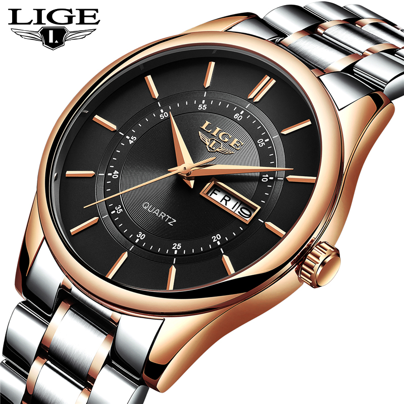 LIGE Watch Men Fashion Sports Top Brand Clock Mens Watches Luxury Full Steel Business Waterproof Quartz Watch Relogio Masculino 2018 amuda gold digital watch relogio masculino waterproof led watches for men chrono full steel sports alarm quartz clock saat