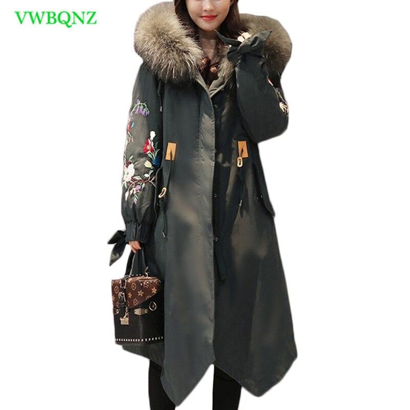 Down cotton coat Women Korean long new winter waist cotton Jacket women's Embroidery Hooded Fur collar coat Jackets Tide A933