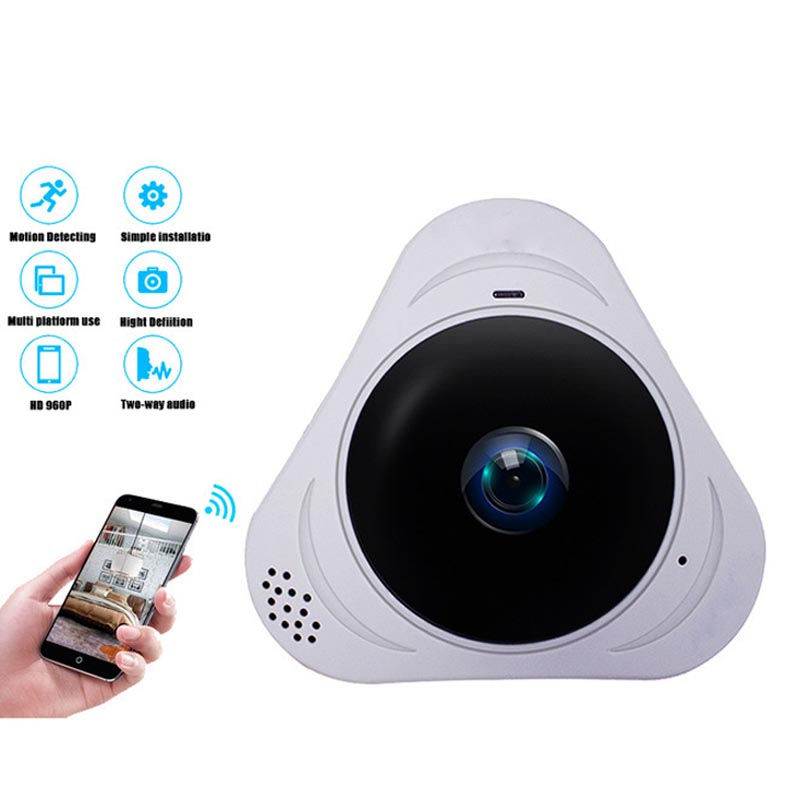 Mini IP Wireless Camera HD 360 Degree Full Viewing Angle Easy to carry Home Vacation Business Outdoor Security Monitoring White