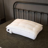 White Solid Double Deck Thick Bed Pillows 48x74cm Cotton Polyester Filler Neck Pillow Massage Therapy Bedding