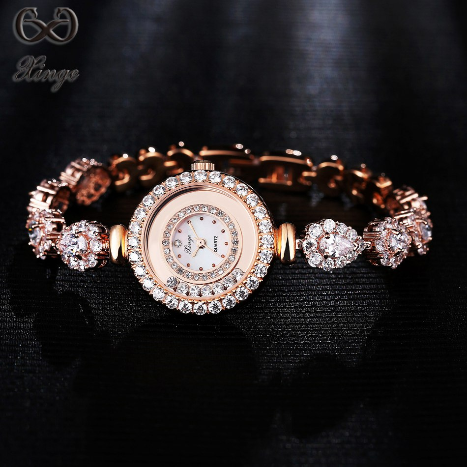 Xinge Brand Crystal Zircon Bracelet Women's Watches Brand Luxury New Fashion Ladies Gold Watch Women Quartz-watch Clock XG1009 xinge brand 2017 new arrival fashion