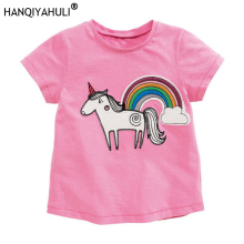 HANQIYAHULI Baby Girls T-shirt Kids Clothes 2019 Brand Children Cartoon T shirts for Costumes Unicorn Summer Tops