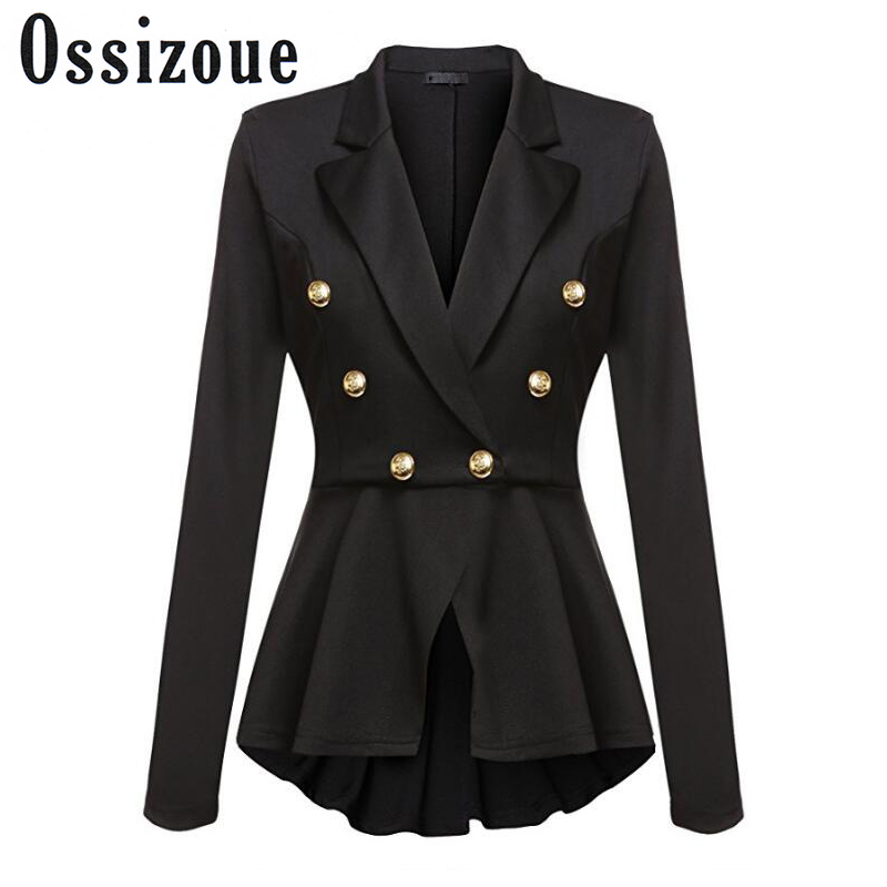 New Fashion Women Blazers Female Coat Spring Autum Runway Style Womens Gold Buttons Double Breasted Ladies Blazer Outerwear