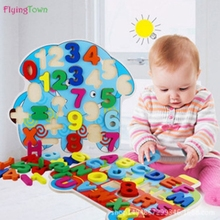 animals wooden puzzles for children 2-4 years old 3d puzzle jigsaw board educational toys kids learning games fun letter toy