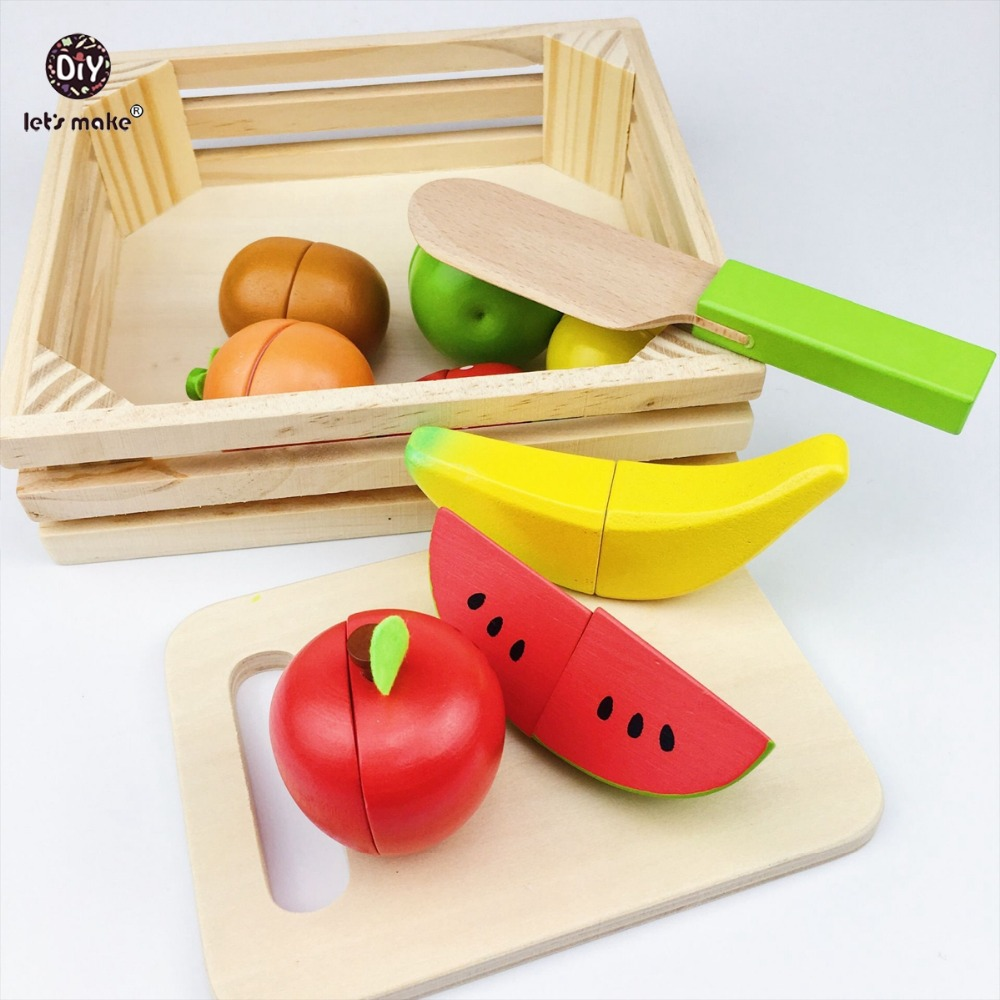Lets make Baby Montessori Wooden Toys 11pc Fruit Kitchen Cutting Toys Early Development and Education Toy for Baby Gifts Blocks