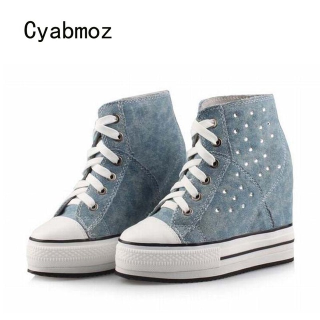 5dbd0c8a3225 Cyabmoz Women Shoes Platform High heels Wedge Woman Denim Rhinestone Shoes  Height increasing Zapatillas deportivas Zapatos
