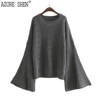 AZURE SHEN Winter Loose For Women 2018 Spring Casual Flare Sleeve Solid Color Pullover Lady