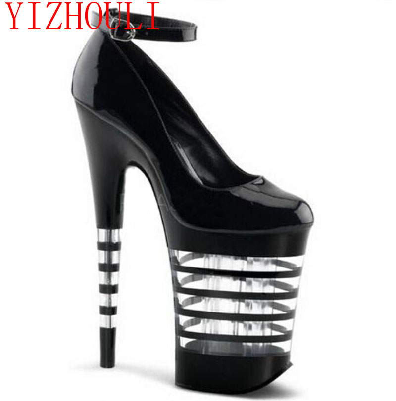20 cm high heels appeal Paris fashion fashionable nightclub princess shoes Black paint bottom leather shoe heels sexy supermodels catwalk shoes super high heels shoes 20 cm cos props nightclub paris fashion boots
