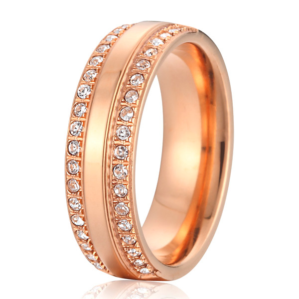 rose gold color cubic zirconia cz stone titanium wedding bands promise rings for women full size 4.5 -15