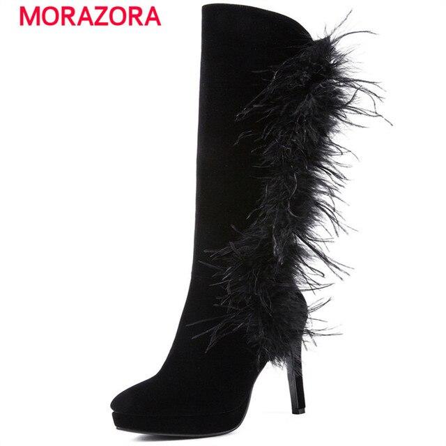 MORAZORA 2018 thời trang mới feather đầu gối cao khởi động mùa thu mùa đông bò da lộn da giày ngón chân vòng siêu cao gót phụ nữ khởi động