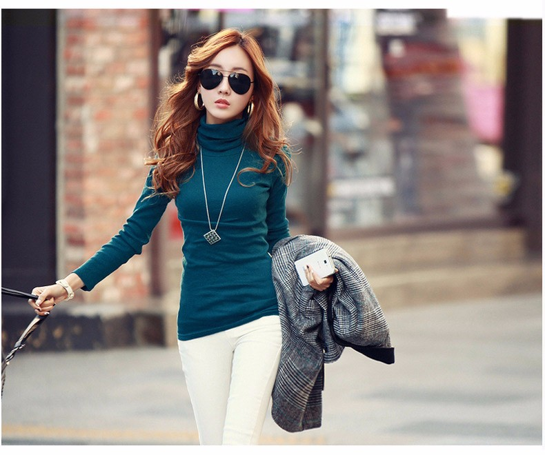 Spring Autumn Winter Fashion Turtleneck Tops Long Sleeve Cotton T Shirt Slim Casual t-shirt women 2016 Basic Tees Shirts A550 f