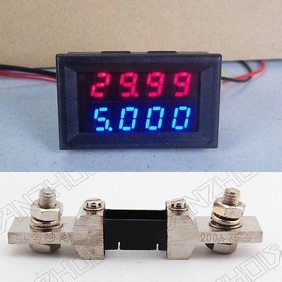 (DC 0 В-200 В 200A) двойной светодио дный Цифровой вольтметр AmmeterRED/синий + 200A шунта 12 В 24 В
