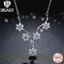 Real 925 Sterling Silver Purple & Clear CZ Overlook Me Not Choker Chain Necklace & Pendants for Girls Silver Superb Jewellery