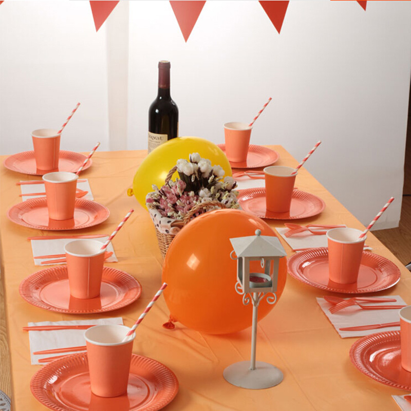 69pcs for 8 Persons Disposable tableware sets series Orange Children/Adults Birthday Wedding Party Decoration paper plates/cups